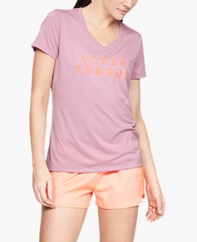 Women's UA Tech™ Short Sleeve V-Neck Graphic